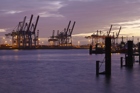 gantry: The Port of Hamburg (Germany) with container gantry cranes and terminals taken on February 8, 2015. Editorial
