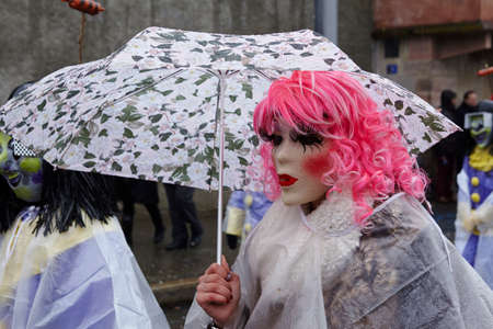 fasnacht: The Carnival at Basel (Basle - Switzerland) in the year 2015. The picture shows some costumed people on February 23, 2015.