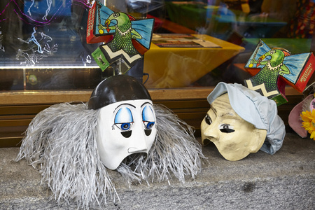 fasnacht: The Carnival at Basel (Basle - Switzerland) in the year 2015. The picture shows some face masks on February 23, 2015. Editorial