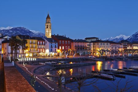 The Bay of Ascona (Switzerland, Ticino) taken in the evening at the point of the blue hour.