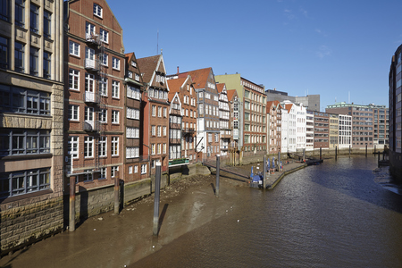 The old houses at the Nicolai Fleet (Deich Street) are the oldest buildings in Hamburg (Germany). Stock Photo