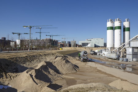 The building site of the Hafencity at Hamburg (Germany) taken on March 8, 2015.