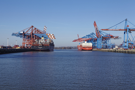 The container vessels MSC New York and Cap San Antonio (Hamburg Sued) are loaded and unloaded at the terminals Burchardkai and Eurogate at the Port of Hamburg Waltershof (Germany) on March 8, 2015.
