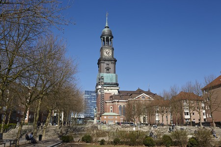 is well known: The Michel (St. Michaelis Church) - one of the  well known landmarks of Hamburg (Germany) - taken on March 8, 2015.