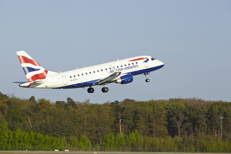 airborn: An Embraer 170 of British Airways takes off at Frankfurt International Airport (Germany, FRA) on April 23, 2015.