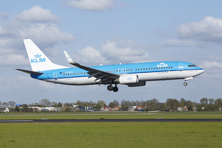 polderbaan: A Boeing 737-8K2 of KLM lands at Amsterdam Airport Schiphol (The Netherlands, AMS) on May 7, 2015. The name of the runway is Polderbaan.