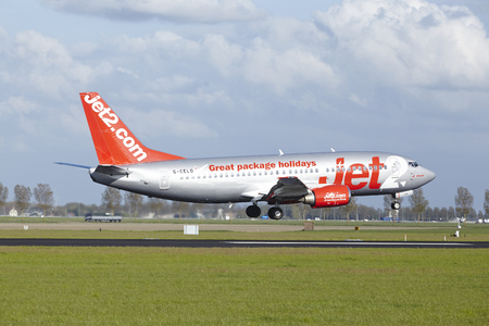 polderbaan: A Boeing 737-33A of Jet2 lands at Amsterdam Airport Schiphol (The Netherlands, AMS) on May 7, 2015. The name of the runway is Polderbaan.
