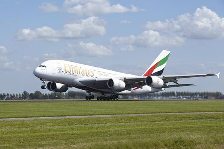 An Airbus A380-861 of Emirates takes off at Amsterdam Airport Schiphol (The Netherlands, AMS) on May 13, 2015. The name of the runway is Polderbaan.