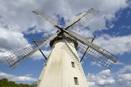 The windmill Grossenheerse (Petershagen) taken with a blue sky with white clouds is part of the Westphalia Mill Street.