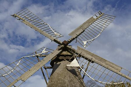 The windmill Levern (Stemwede, Germany) is part of the Westphalia Mill Street (Westfaelische Muehlenstrasse) in the rural district Minden-Luebbecke. Stock Photo