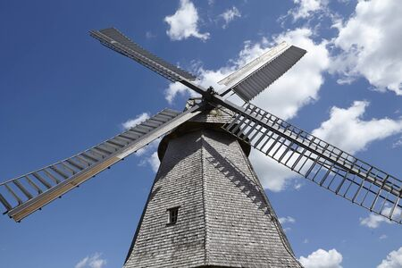 The windmill Petershagen (Germany) is a dutch type of windmill and is part of the Westphalia Mill Street (Westfaelische Muehlenstrasse). Stock Photo