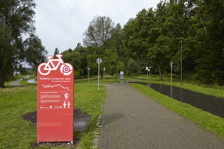 ruhr: The Ruhr Valley Bicycle Trail at the Reservoir Kemnade in Bochum (Germany, Northrhine Westphalia) taken on July 25, 2015. Editorial