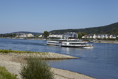 rhine westphalia: The paddle wheeler Goethe of the Koeln-Duesseldorfer Rheinschifffahrt sails near Koenigswinter on the river Rhine.