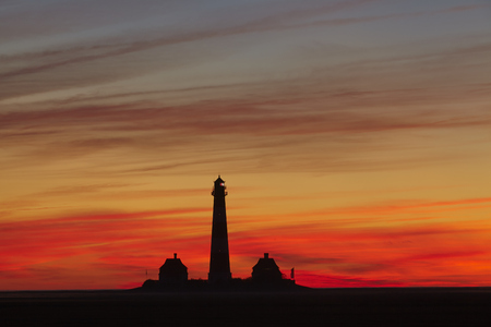 westerhever: The lighthouse Westerhever (Germany, Schleswig Holstein, North Frisia) photographed in the evening after sunset. Stock Photo