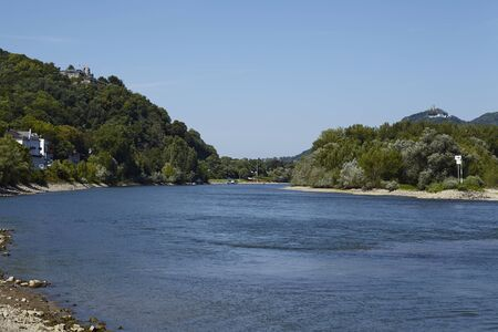 rheintal: The river Rhine near Rolandseck (Germany, Rhineland Palatinate, administartive district Ahrweiler, Remagen) photographed at sunny daylight and a cloudless blue sky.