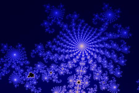Dieser Abschnitt der Mandelbrot-Menge (fraktalen) ist Computer generiert und zeigt eine radiale Struktur in blauen und schwarzen Farben. Standard-Bild