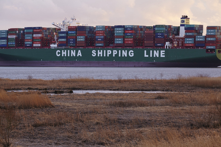 schleswig holstein: The container vessel CSCL Indian Ocean lying on ground of the river Elbe since February 3, 2016 near Hetlingen (Schleswig Holstein, Germany) on February 7, 2016.