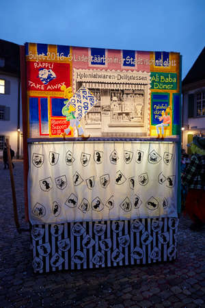 vernacular: Some lighted carnival lanterns at the lantern exhibition in the evening of the Carnivel at Basel 2016 (Basle - Switzerland) on February 15, 2016.