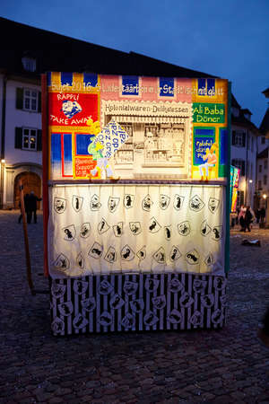 morning blue hour: Some lighted carnival lanterns at the lantern exhibition in the evening of the Carnivel at Basel 2016 (Basle - Switzerland) on February 15, 2016.