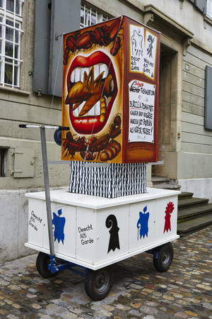 vernacular: A carnival lantern stands in the street on the morning of the Carnivel at Basel 2016 (Basle - Switzerland) on February 15, 2016. Editorial