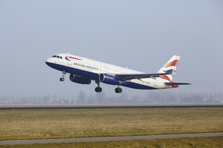 polderbaan: An Airbus A320-232 of British Airways takes off at Amsterdam Airport Schiphol (The Netherlands, AMS) on March 11, 2016. The name of the runway is Polderbaan.