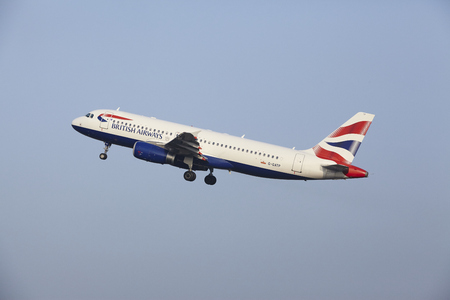 take: An Airbus A320-232 of British Airways takes off at Amsterdam Airport Schiphol (The Netherlands, AMS) on March 11, 2016. The plane is already high in the air.