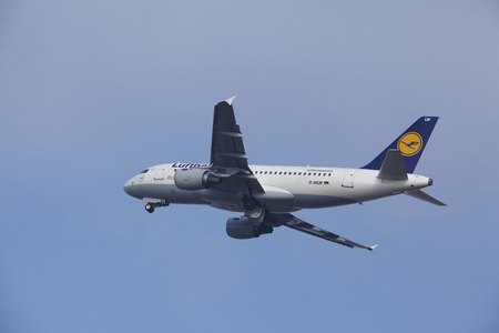 airborn: An Airbus A319-114 of Lufthansa takes off at Amsterdam Airport Schiphol (The Netherlands, AMS) on March 11, 2016.  The plane is already high in the air.