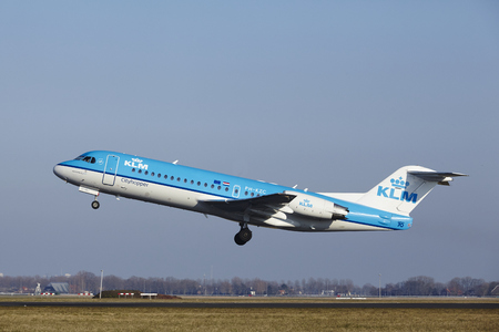 klm: The KLM Cityhopper Fokker 70 with identification PH-KZC takes off at Amsterdam Airport Schiphol (The Netherlands, AMS), Polderbaan on March 13, 2016.