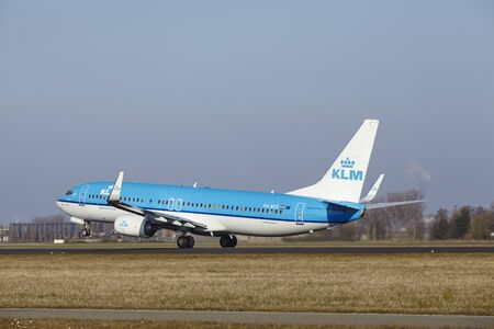 bce: The KLM Boeing 737-8K2 with identification PH-BCE takes off at Amsterdam Airport Schiphol (The Netherlands, AMS), Polderbaan on March 13, 2016.