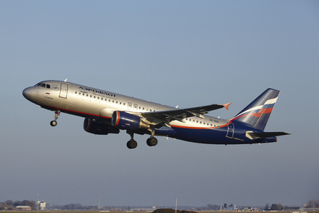 vp: The Aeroflot Airbus A320-214 with identification VP-BZP takes off at Amsterdam Airport Schiphol (The Netherlands, AMS), Polderbaan on March 13, 2016.