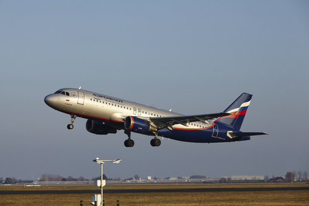 schiphol: The Aeroflot Airbus A320-214 with identification VP-BZP takes off at Amsterdam Airport Schiphol (The Netherlands, AMS), Polderbaan on March 13, 2016.