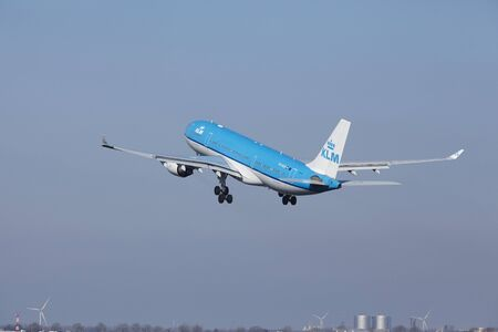 klm: The KLM Airbus A330-203 with identification PH-AOB takes off at Amsterdam Airport Schiphol (The Netherlands, AMS), Polderbaan on March 13, 2016. Editorial