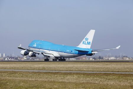 klm: The KLM Boeing 747-406(M) with identification PH-BFI takes off at Amsterdam Airport Schiphol (The Netherlands, AMS), Polderbaan on March 13, 2016.