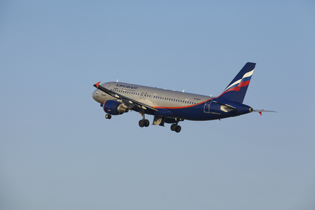 vp: The Aeroflot Airbus A320-214 with identification VP-BZP takes off at Amsterdam Airport Schiphol (The Netherlands, AMS), Polderbaan on March 13, 2016. The aircraft is already high in the air. Editorial
