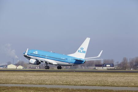 klm: The KLM Boeing 737-7K2 with identification PH-BGR takes off at Amsterdam Airport Schiphol (The Netherlands, AMS), Polderbaan on March 13, 2016.