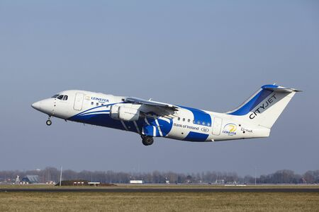 polderbaan: The CityJet Avro RJ85 (Leinster Rugby Livery) with identification EI-RJX takes off at Amsterdam Airport Schiphol (The Netherlands, AMS), Polderbaan on March 13, 2016. Editorial