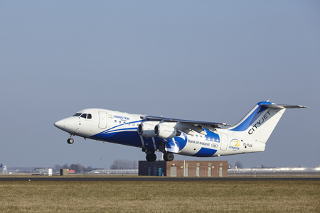 leinster: The CityJet Avro RJ85 (Leinster Rugby Livery) with identification EI-RJX takes off at Amsterdam Airport Schiphol (The Netherlands, AMS), Polderbaan on March 13, 2016. Editorial