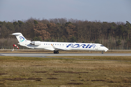 adria: The Adria Airways Canadair CRJ-900LR with identification S5-AAU takes off at Frankfurt International Airport (Germany, FRA) on March 18, 2016. Editorial