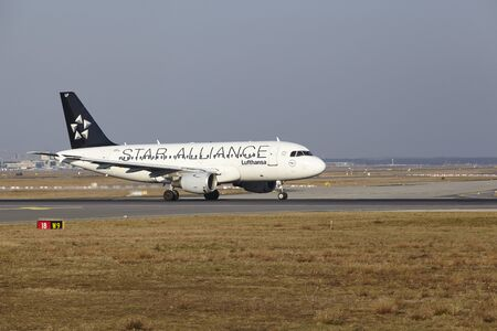 livery: The Lufthansa Airbus A319-114 (Star Alliance livery) with identification D-AILF takes off at Frankfurt International Airport (Germany, FRA) on March 18, 2016.