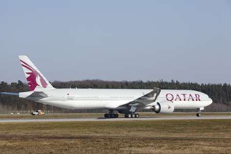 airways: The Qatar Airways Boeing 777-3DZ(ER) with identification A7-BAJ takes off at Frankfurt International Airport (Germany, FRA) on March 18, 2016.