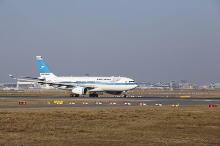 airways: The Kuwait Airways Airbus A330-243 with identification 9K-APE takes off at Frankfurt International Airport (Germany, FRA) on March 18, 2016.