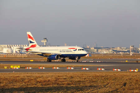 airways: The British Airways Airbus A319-131 with identification G-EUPJ takes off at Frankfurt International Airport (Germany, FRA) on March 18, 2016.