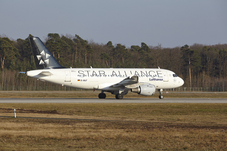commercial painting: The Lufthansa Airbus A319-114 (Star Alliance livery) with identification D-AILF takes off at Frankfurt International Airport (Germany, FRA) on March 18, 2016.