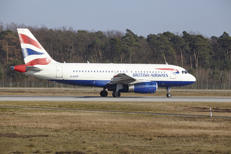 airways: The British Airways Airbus A319-131 with identification G-EUPR takes off at Frankfurt International Airport (Germany, FRA) on March 18, 2016. Editorial