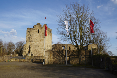 ruhr: The castle ruin Altendorf is located in the district Essen-Burgaltendorf (Germany, Northrhine-Westphalia, Ruhr Area) on April 1, 2016. The castle was built in the second half of the 12. century.