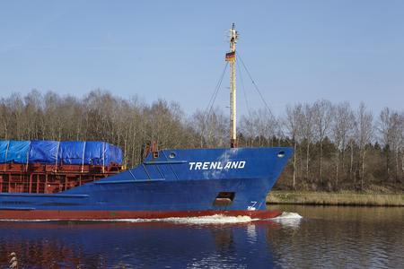 schleswig holstein: The general cargo vessel Trenland at the Kiel Canal near Hochdonn (Germany, Schleswig Holstein) on April 2, 2016.