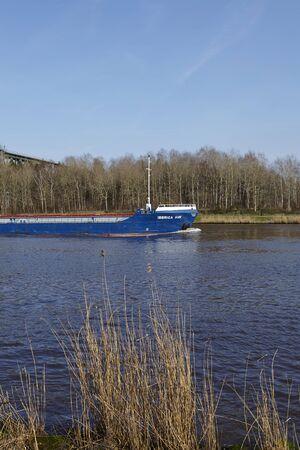 schleswig holstein: The general cargo vessel Iberica HAV at the Kiel Canal near Hochdonn (Germany, Schleswig Holstein) on April 2, 2016. Editorial