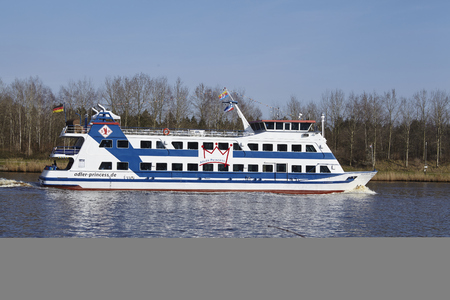 schleswig holstein: The passenger ship Adler Princess at the Kiel Canal near Hochdonn (Germany, Schleswig Holstein) on April 2, 2016.