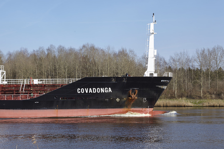schleswig holstein: The chemical tanker Covadonga at the Kiel Canal near Hochdonn (Germany, Schleswig Holstein) on April 2, 2016.