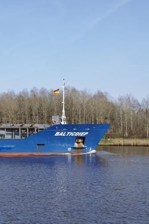 schleswig holstein: The general cargo vessel Baltic Diep at the Kiel Canal near Hochdonn (Germany, Schleswig Holstein) on April 2, 2016.